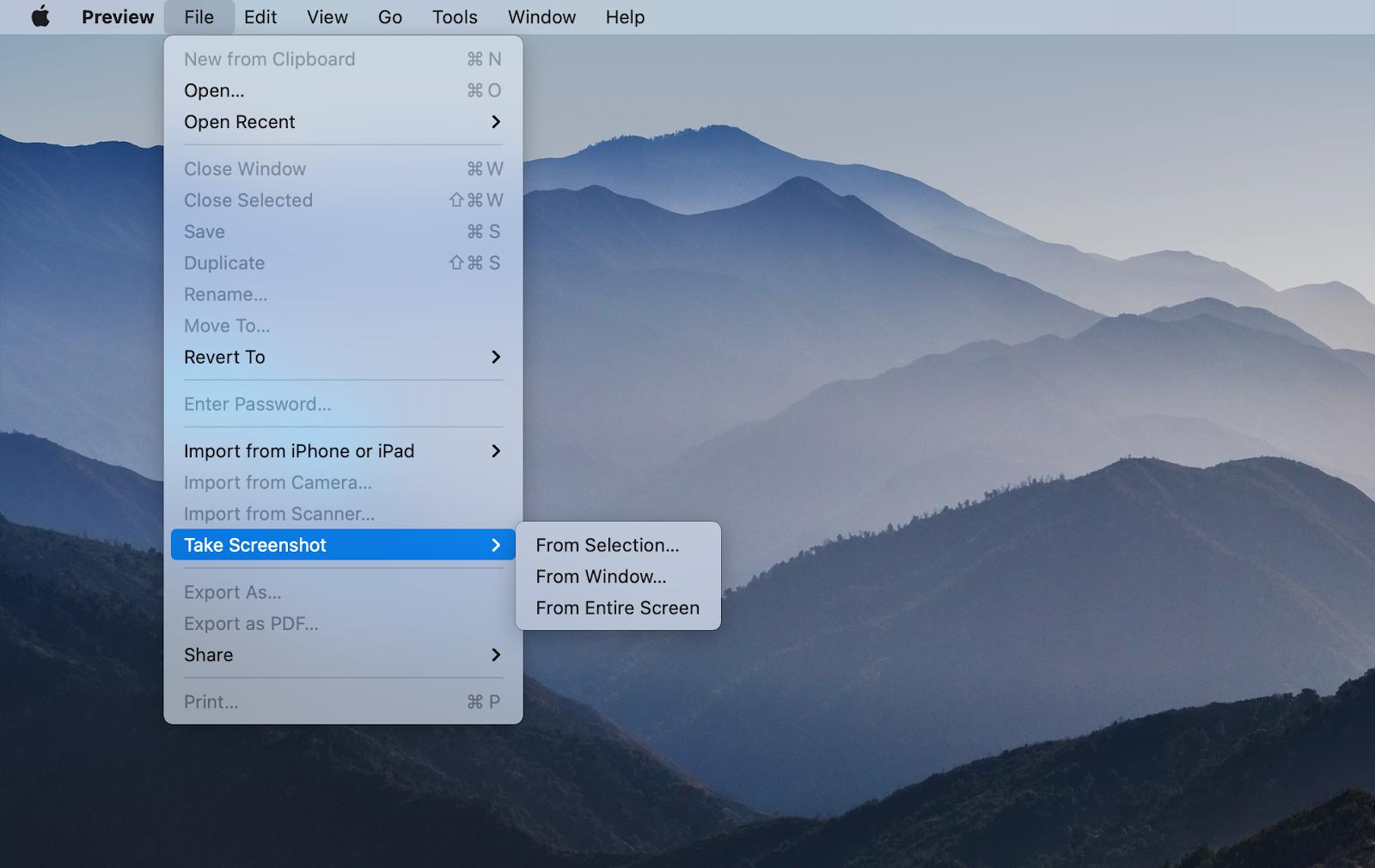 Choose your desired screenshot format