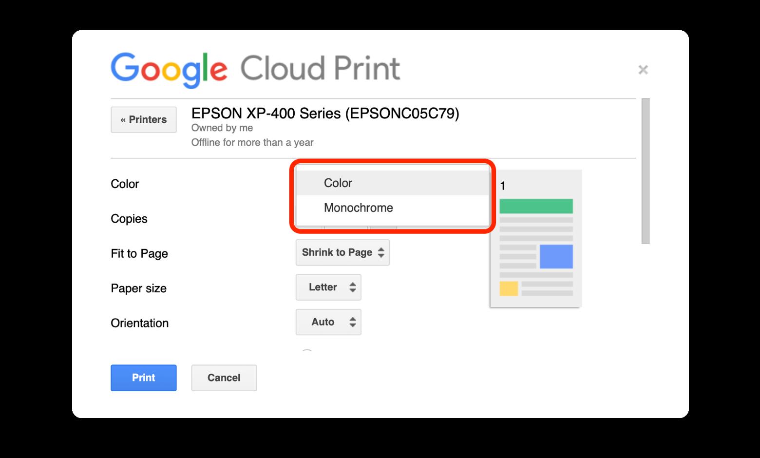 print black and white Google Drive