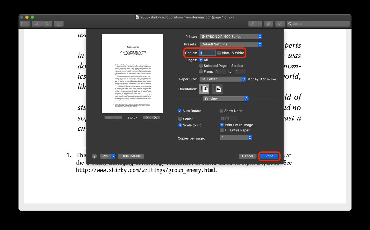 print black and white Preview app Mac