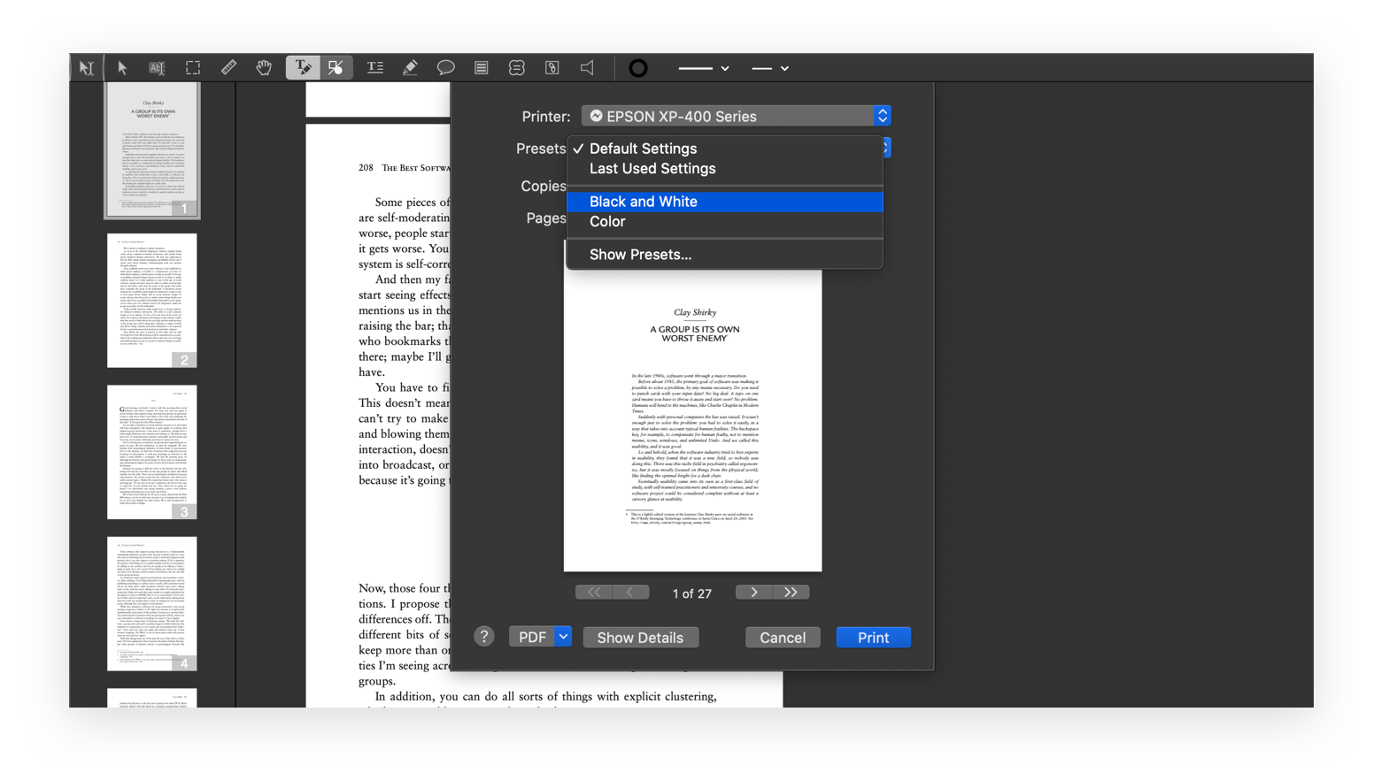 print black and white PDFpen app