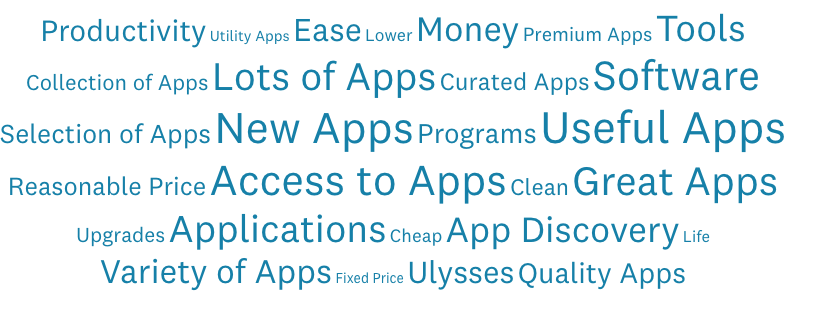 Cloud with answers about primary benefit from Setapp