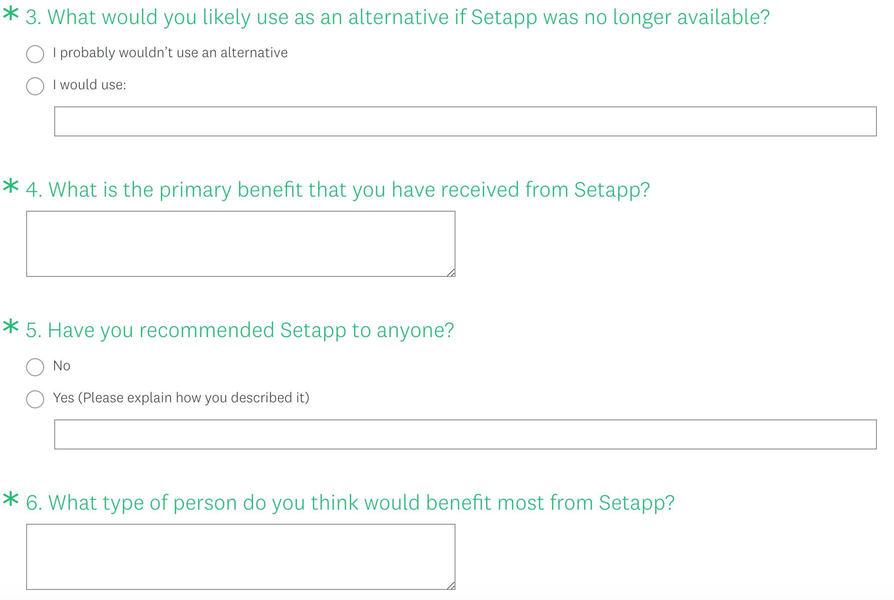 Survey questions 3-6
