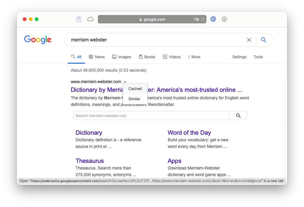 read cached versions of websites through Google