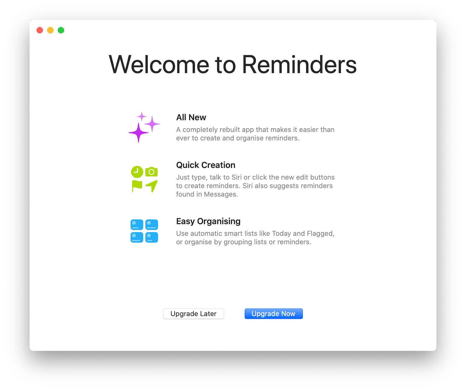 Reminders app Catalina