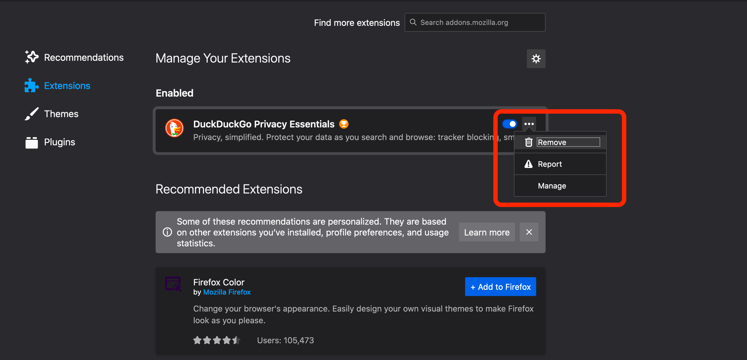 remove extensions firefox
