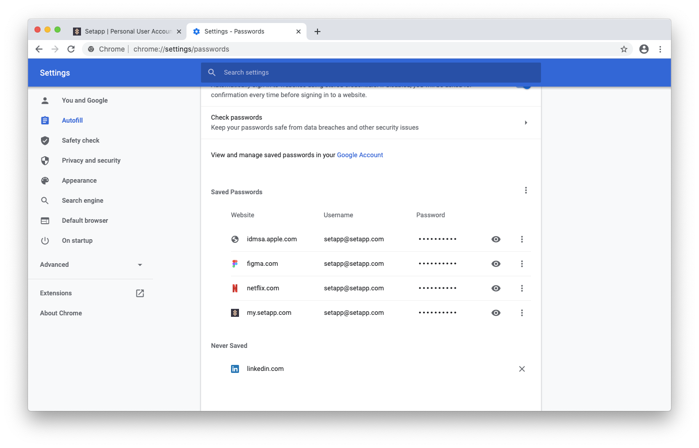 remove never saved passwords google chrome