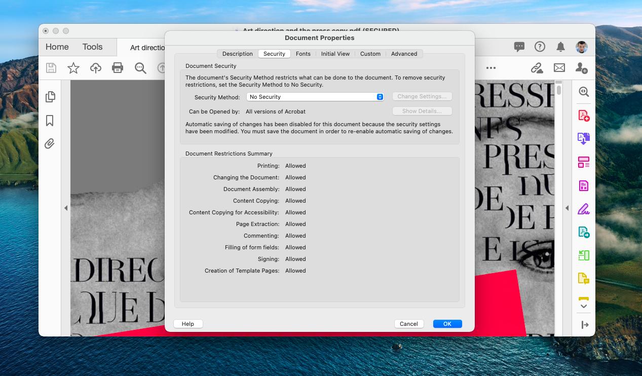 remove password from PDF in Acrobat