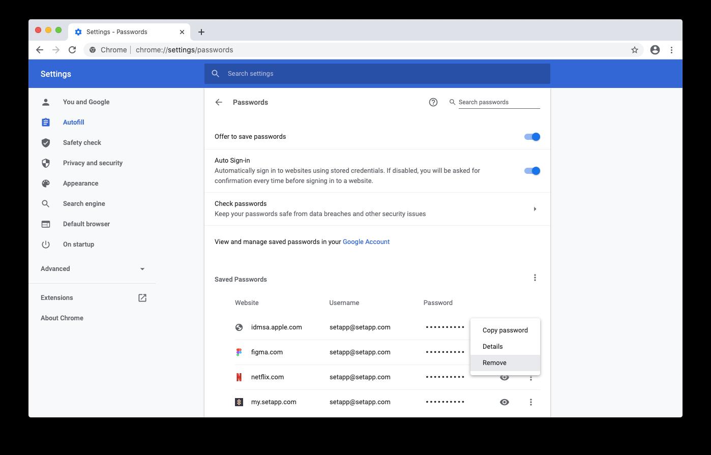 remove saved passwords google chrome mac