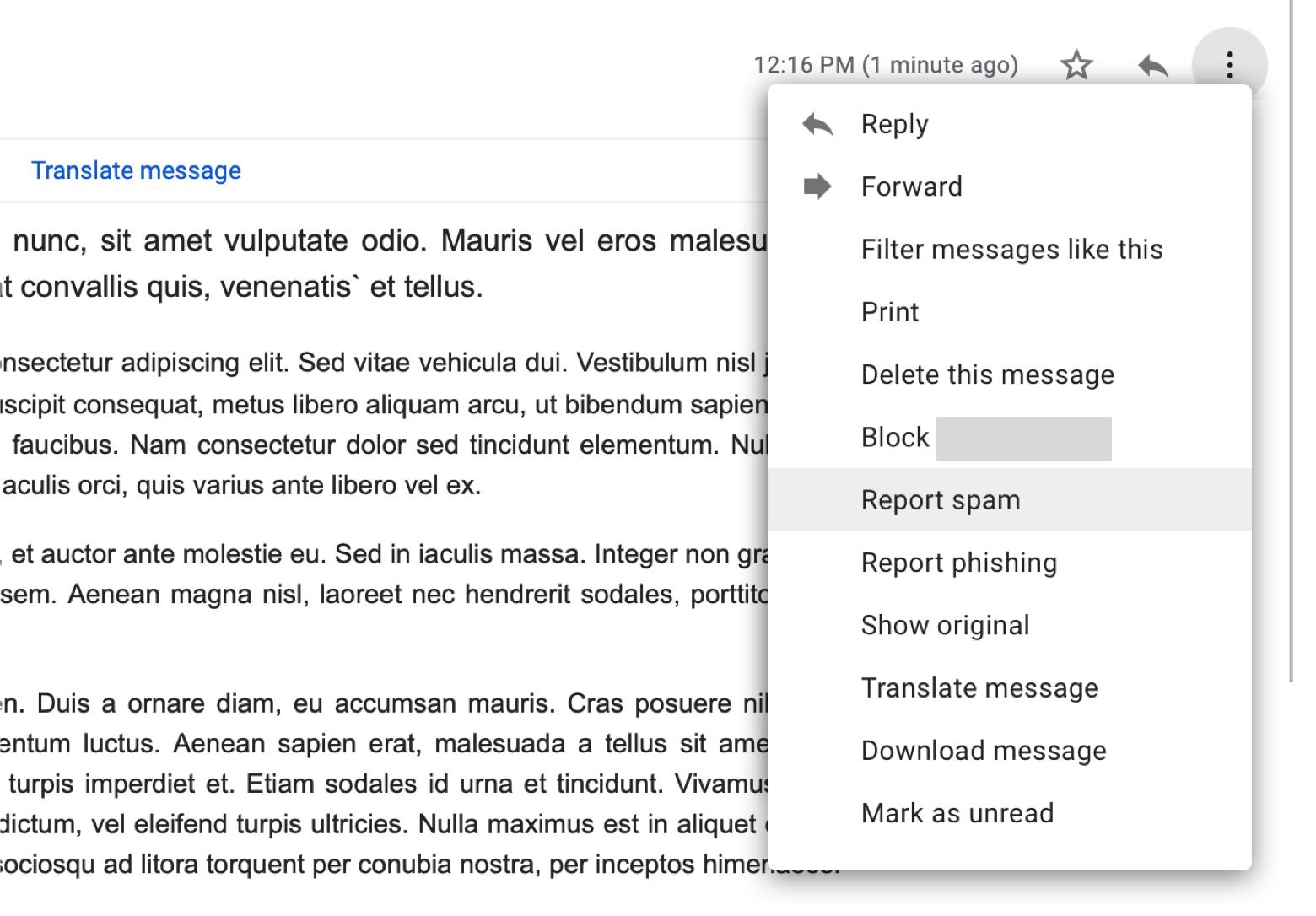 Report spam in Gmail