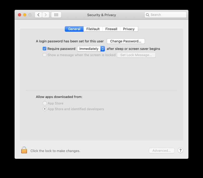 require password lock screen Mac