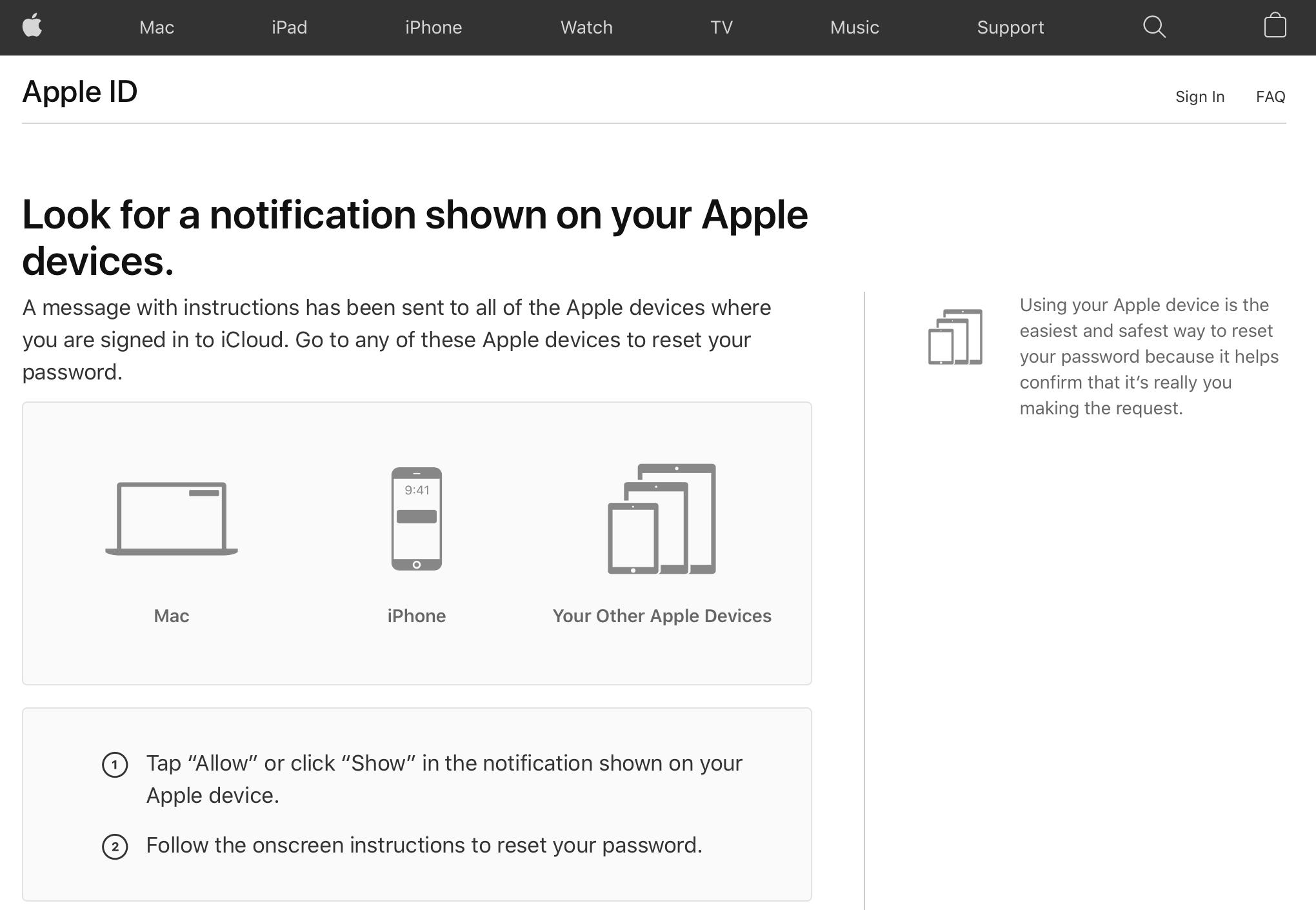 reset apple id