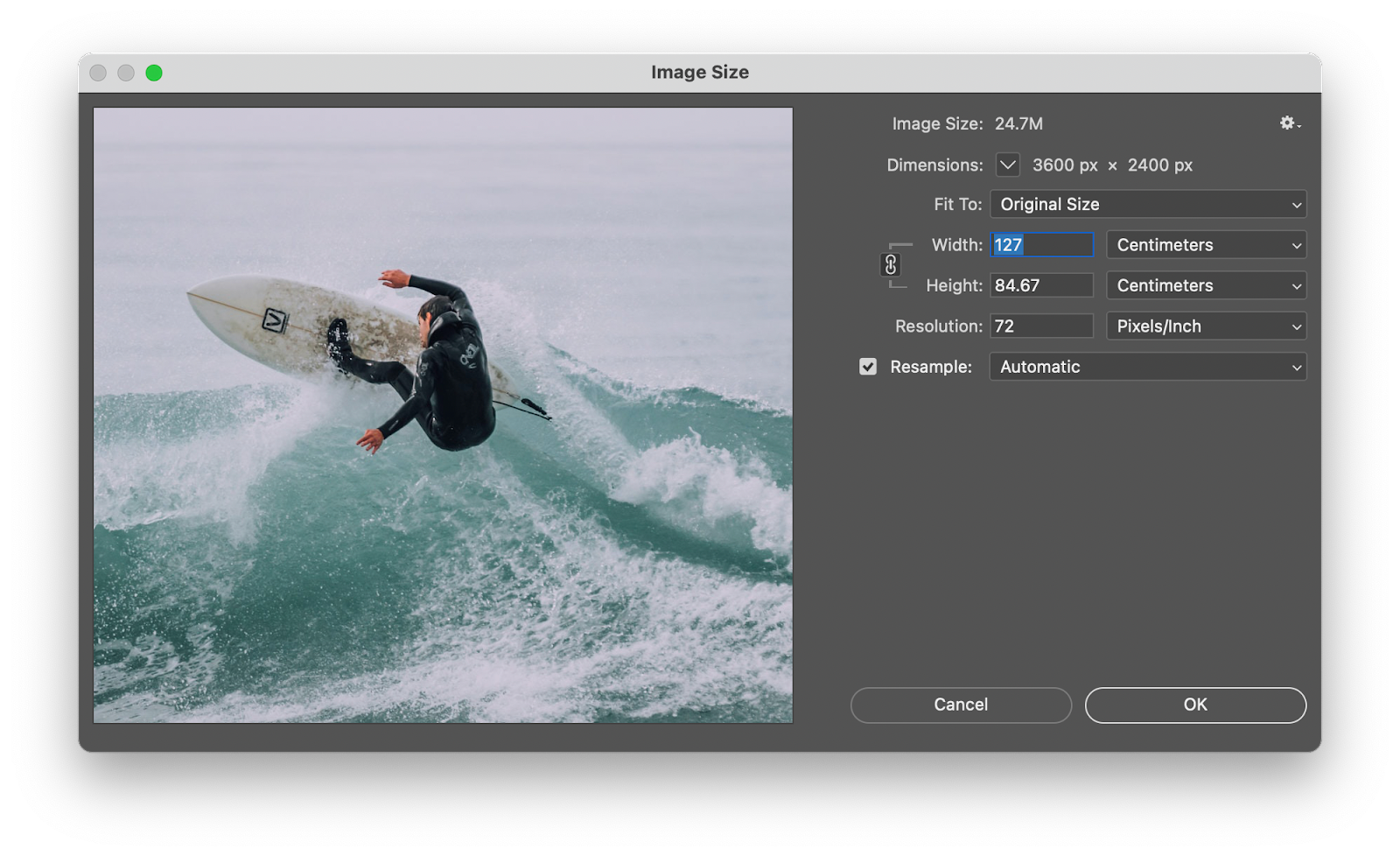 resize image photoshop mac
