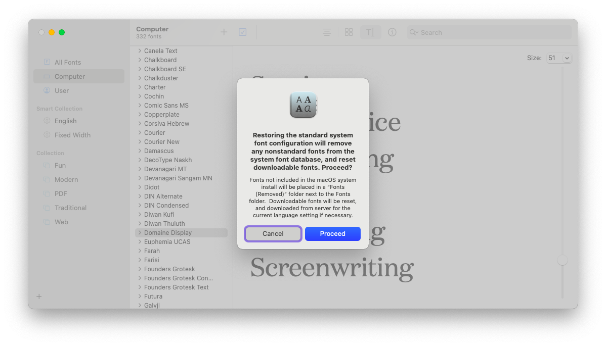 reinstall fonts back to default settings using Mac's Font Book utility