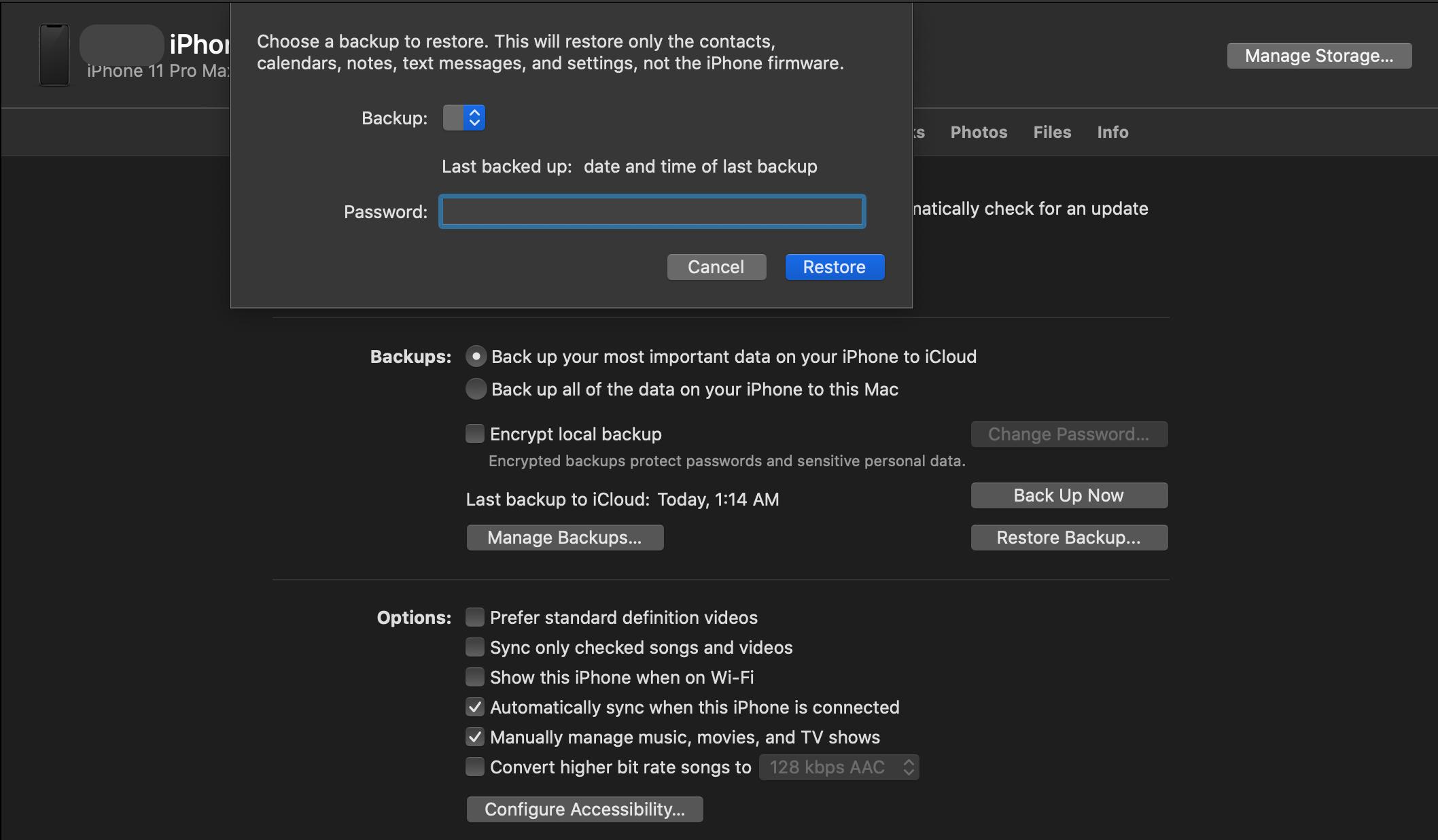 restore iphone to mac
