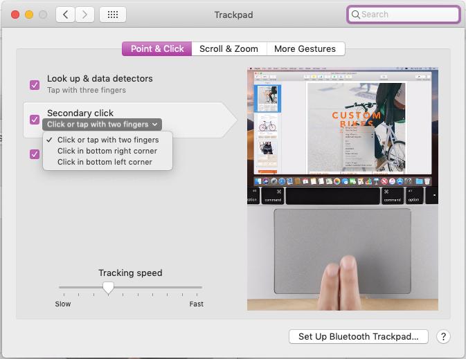 right click on Mac trackpad