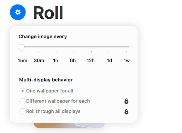 Wallpaper's change settings