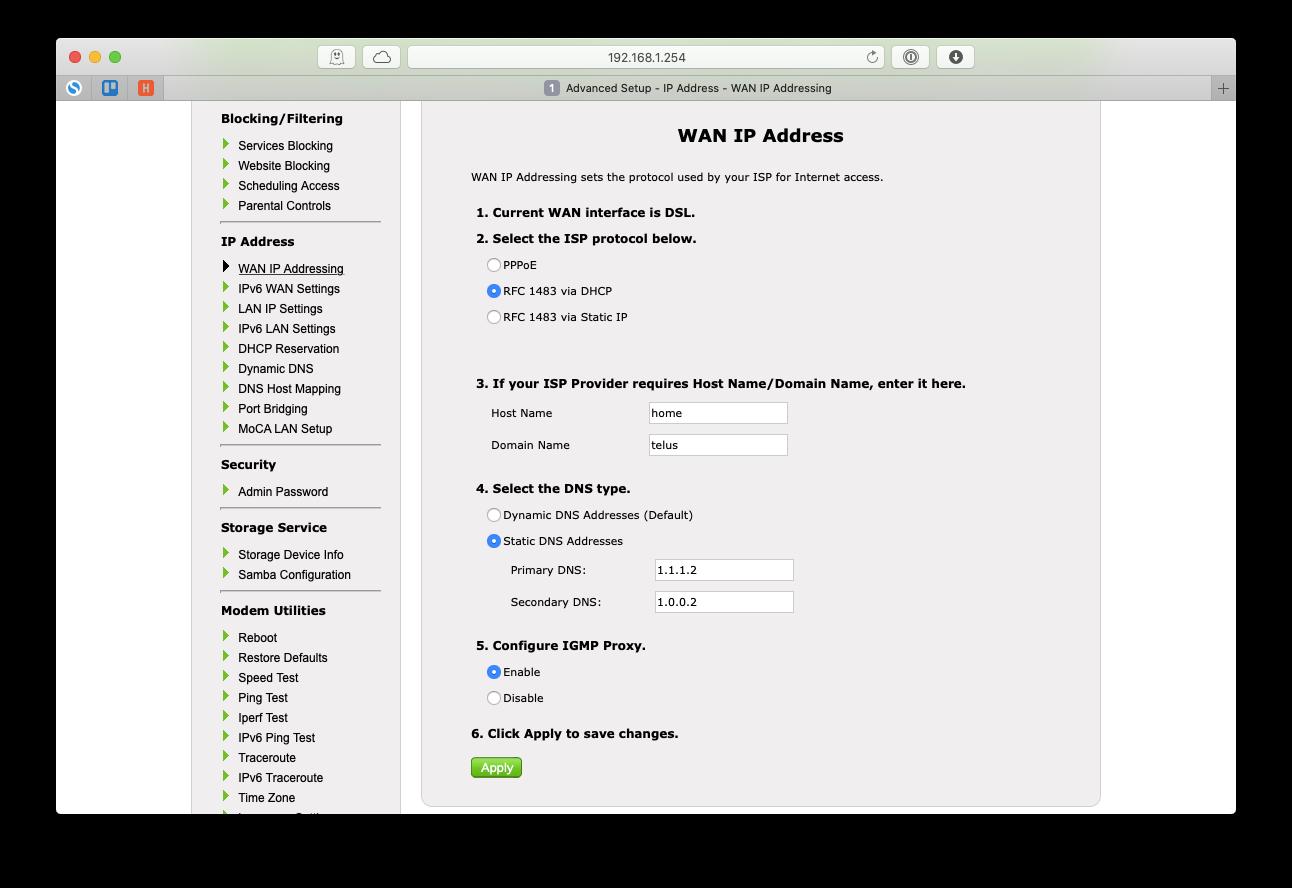 router DNS change server Mac