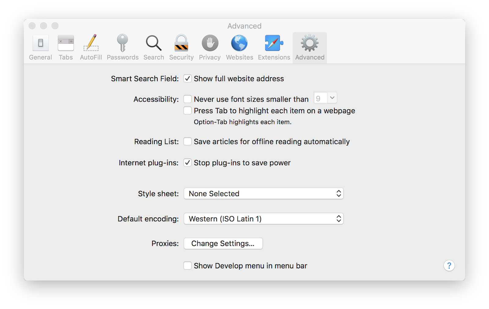 safari advanced settings