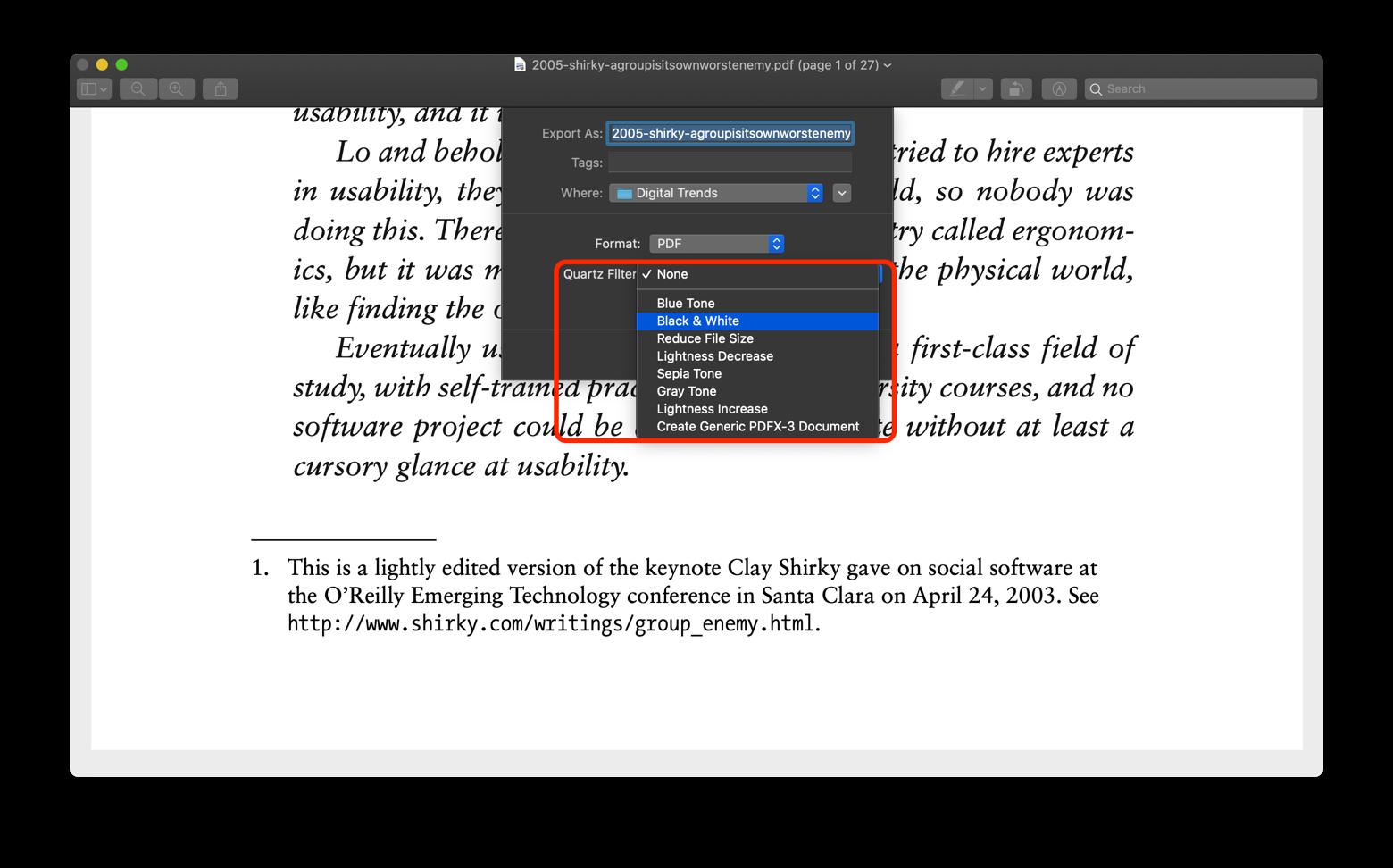 save PDF black and white Preview Mac