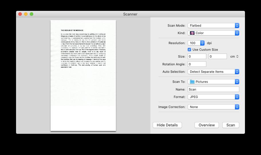scanners default Mac software scan