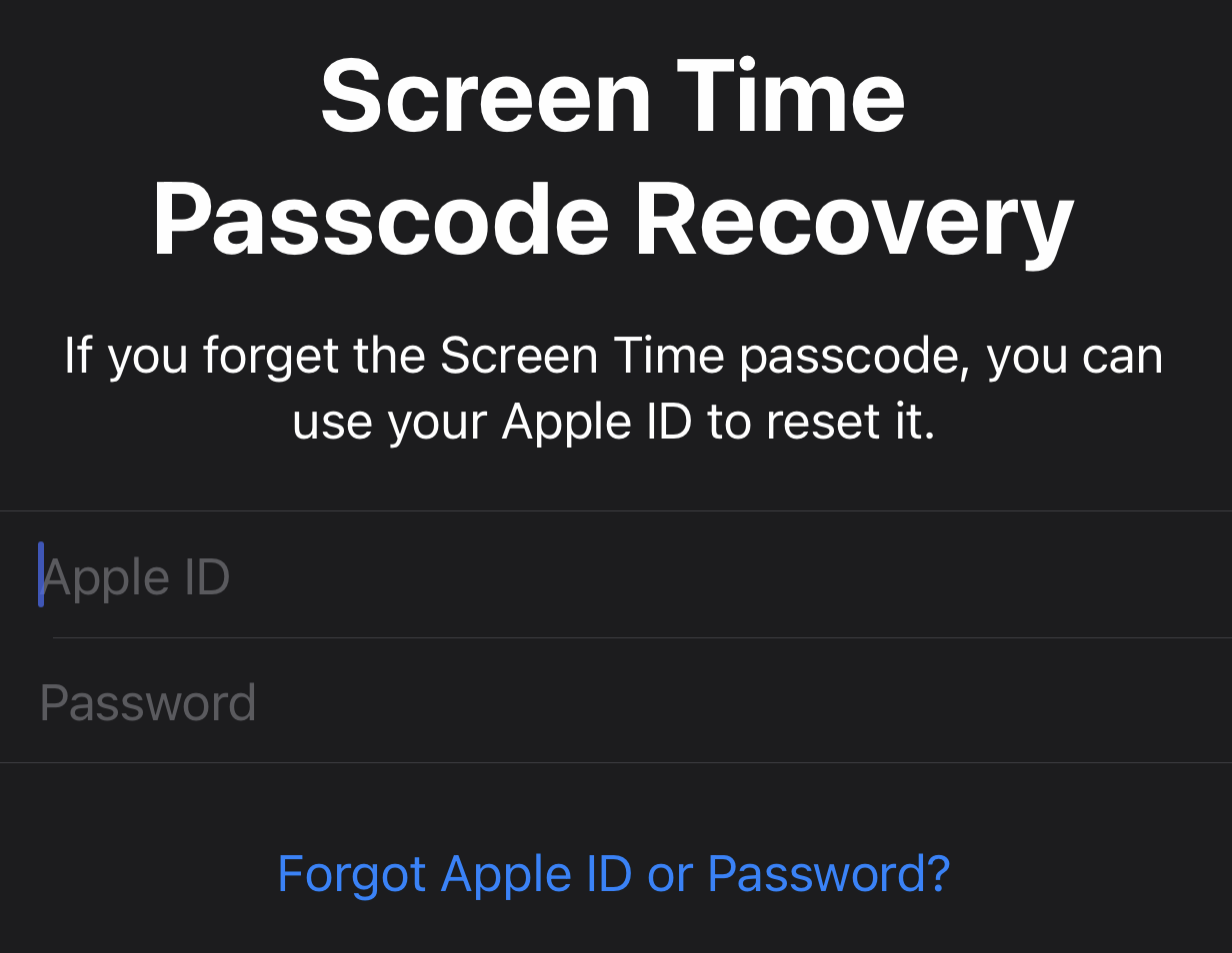 screen time passcode recovery