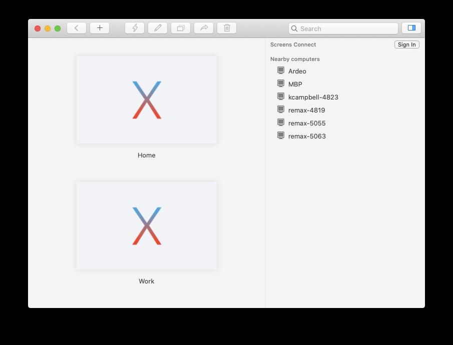 Screens monitors remote access Mac