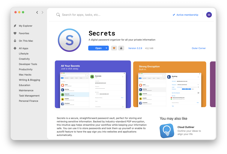 Secrets app on Setapp