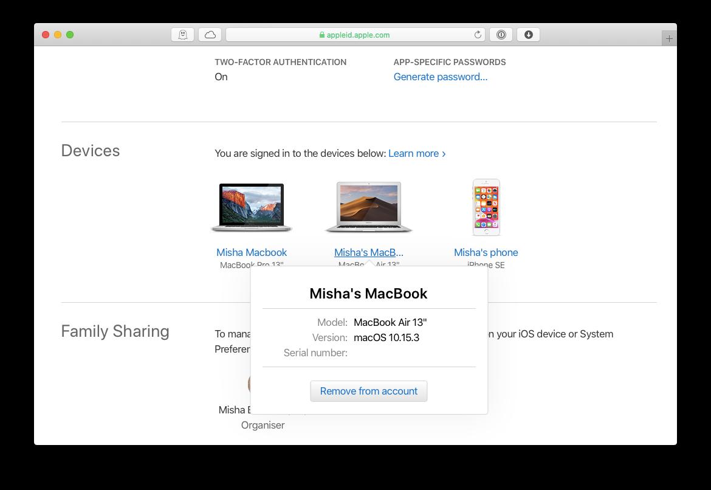 Serial number MacBook Apple ID