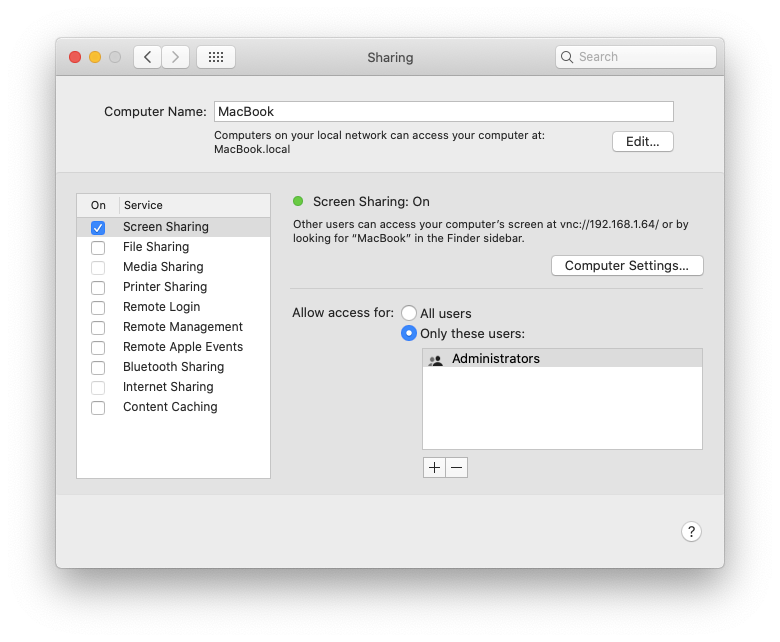 Settings system preferences screen sharing