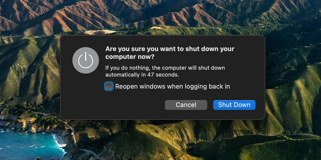 clicking Shut Down
