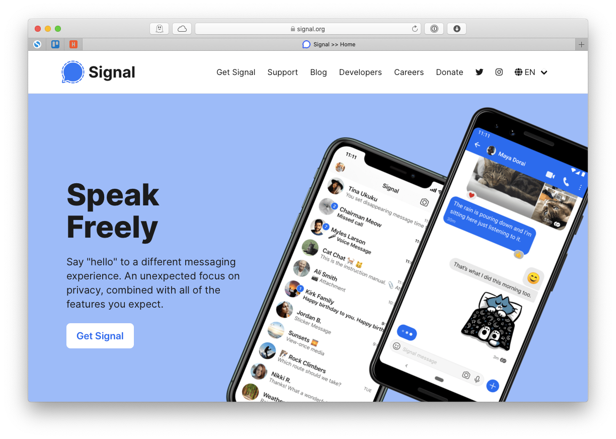Signal secure messaging app Mac