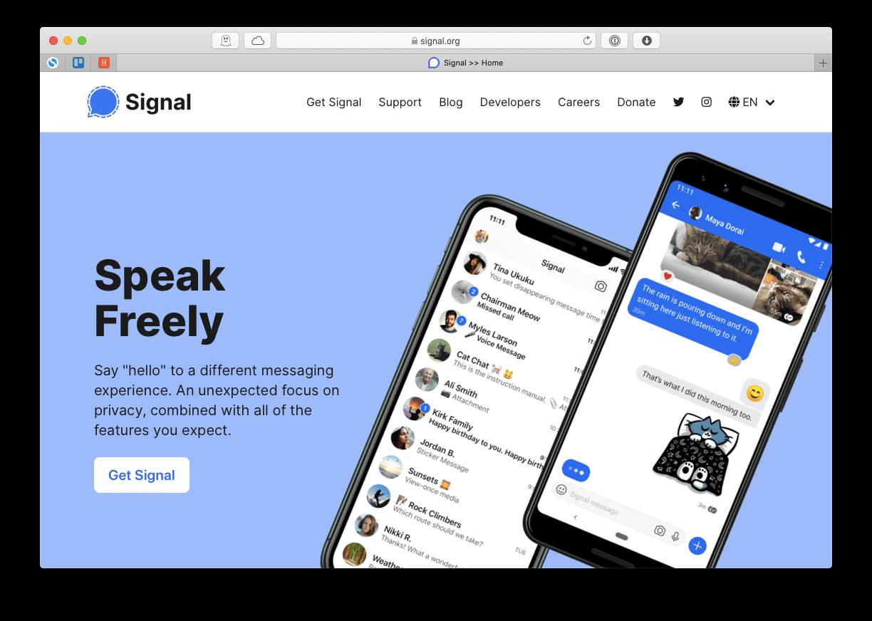 Signal secure messaging app Mac
