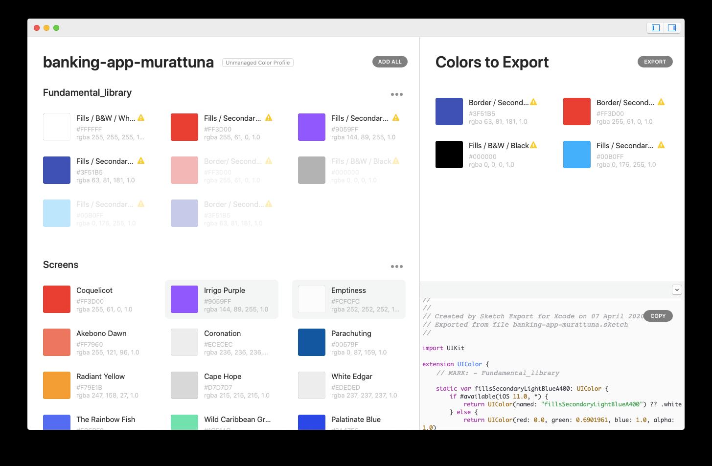 Sketch Export for Xcode Mac app development