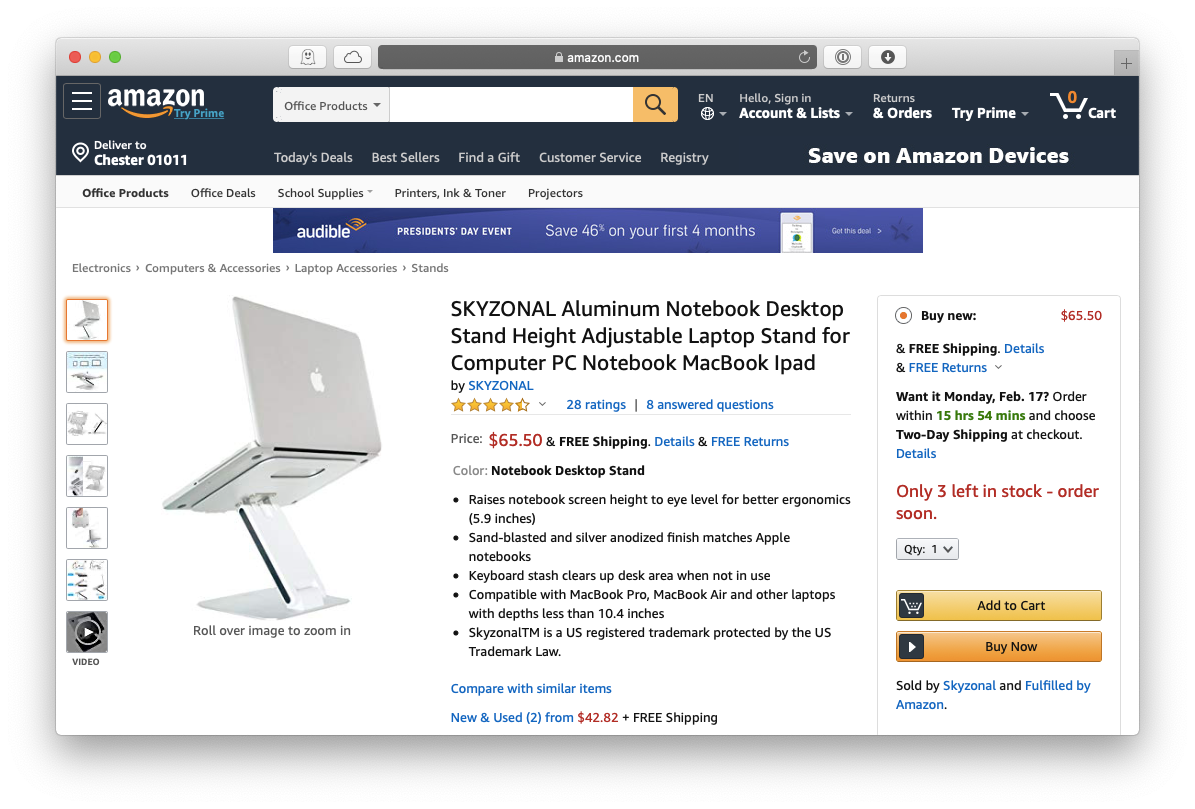 Skyzonal laptop stand MacBook Pro Apple