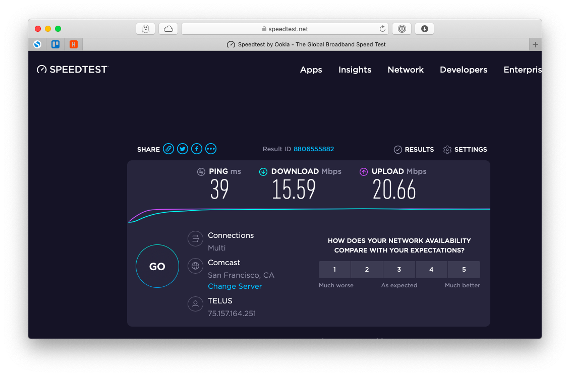 interactive broadband speed test from Ookla