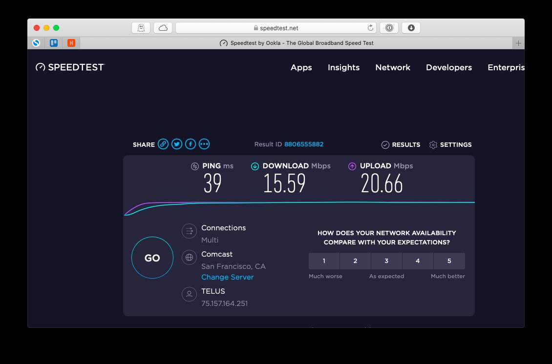 interactive broadband speed test from Ookla