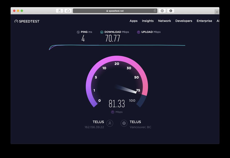 speedtest Mac WiFi signal speed Internet