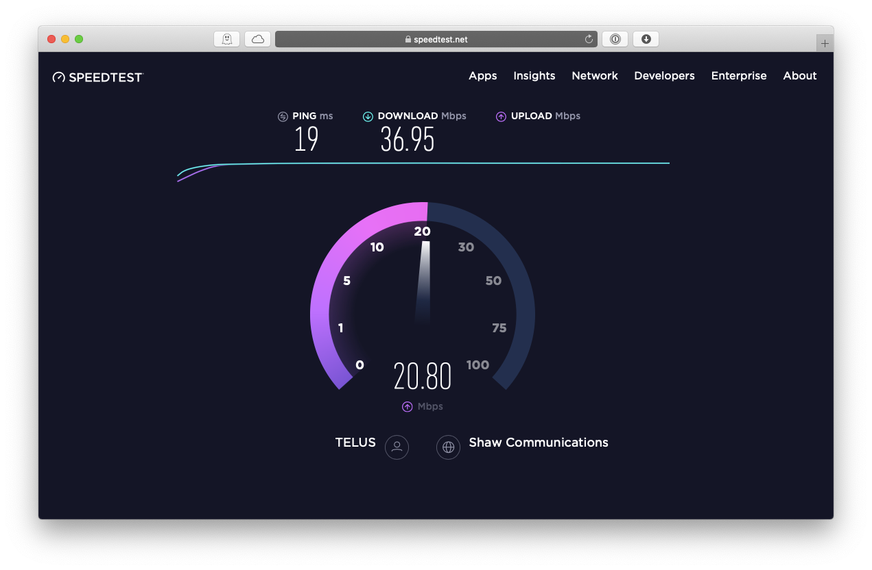 speedtest measure Internet speed Mac