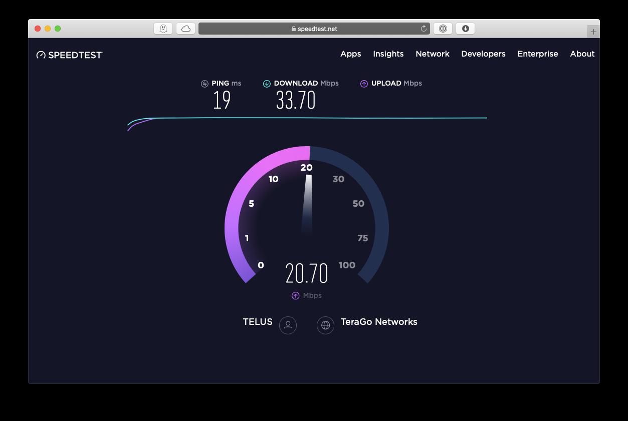 SpeedTest test Internet connection Mac