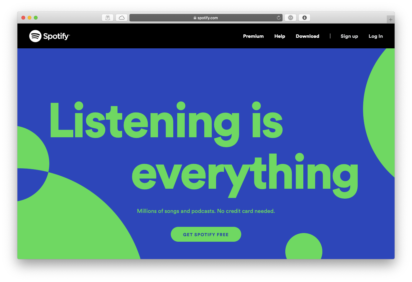 Spotify web music streaming service