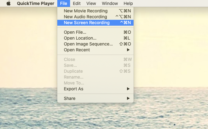 start new recording QuickTime FaceTime Mac