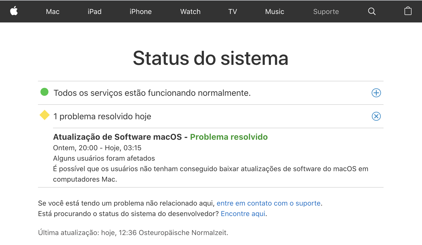 Página de status do sistema da Apple