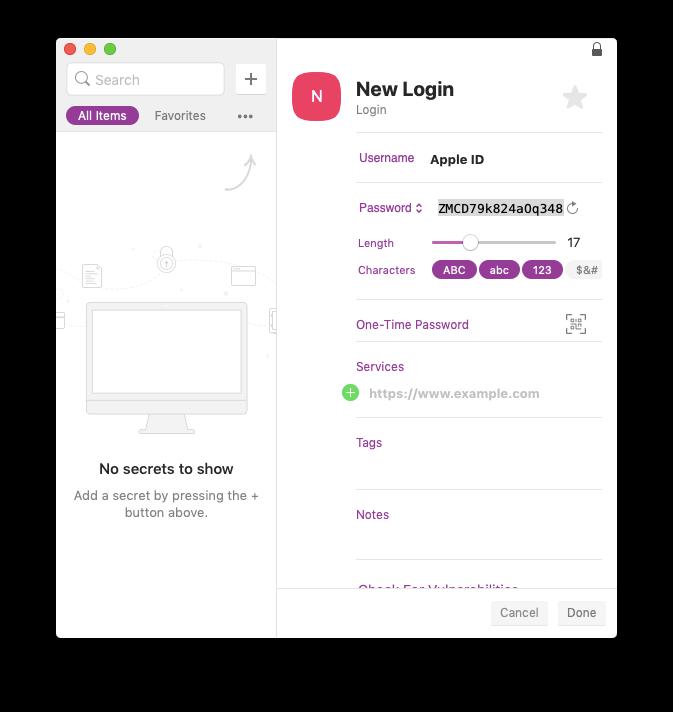 store Apple ID app specific passwords on Secrets