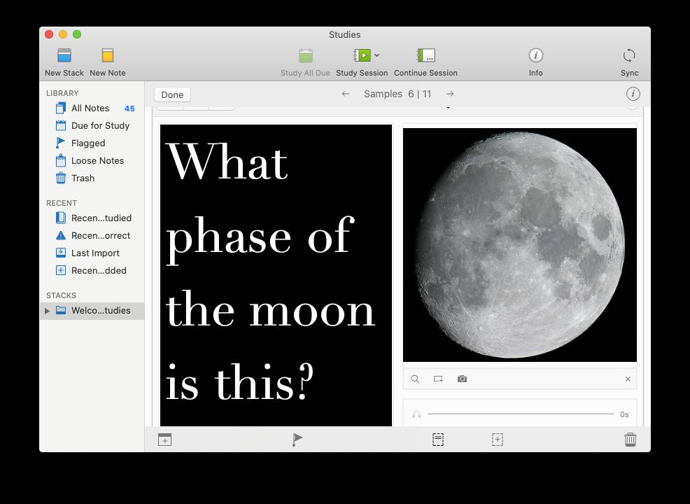 Studies flashcards Mac app