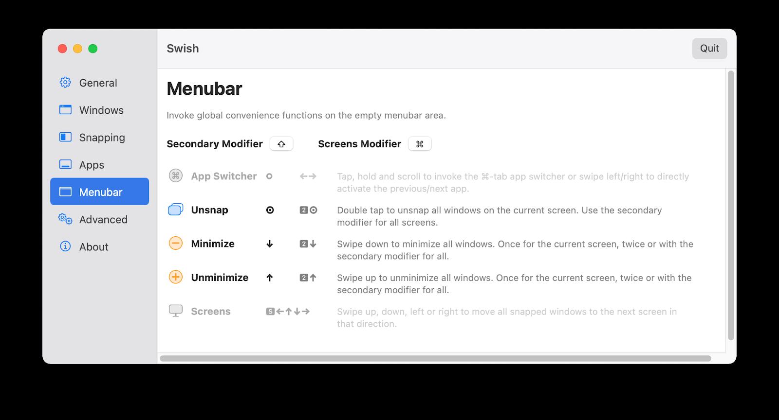 menubar settings