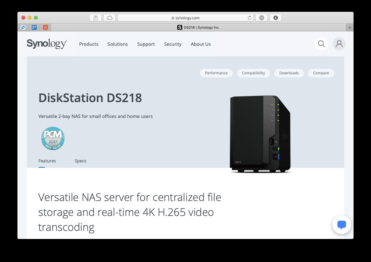 Synology DiskStation DS218 Mac NAS drive storage