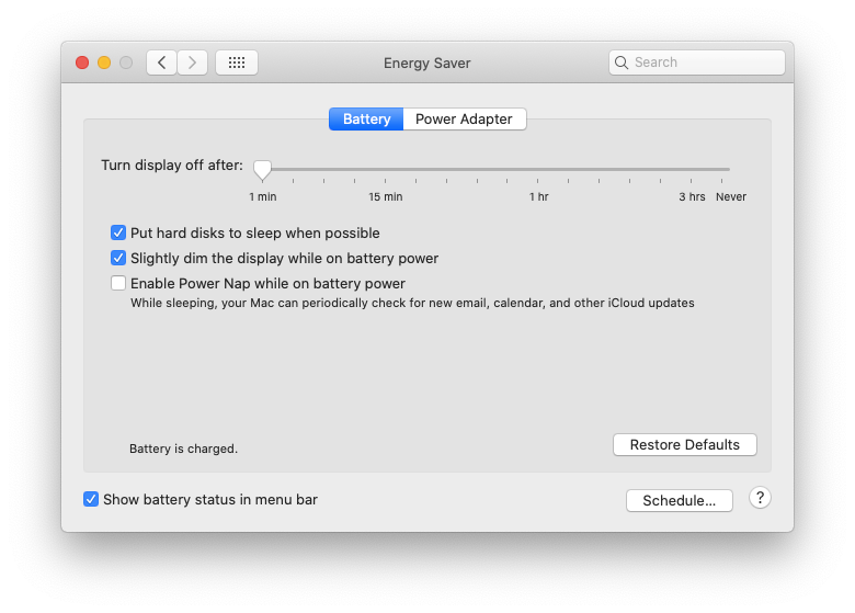 System Preferences Mac energy saver