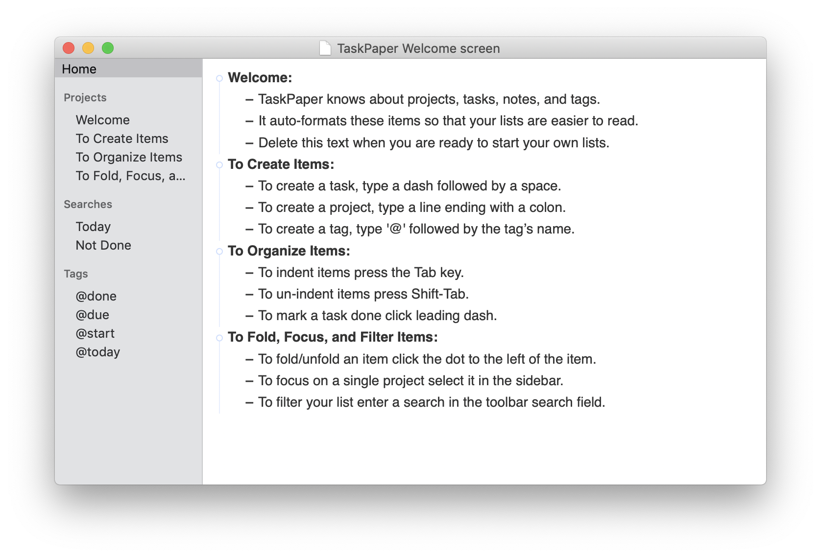 Writing brainstorming in TaskPaper app