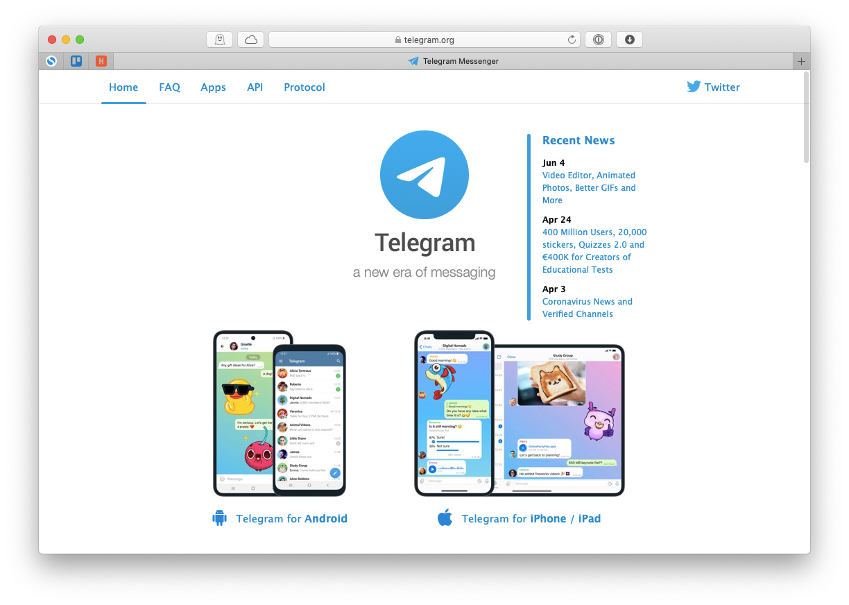 Telegram Mac app chat channels