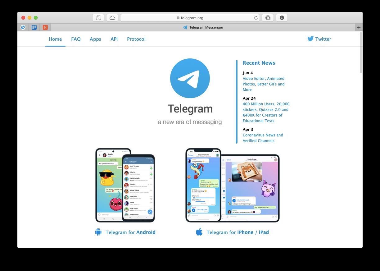 Telegram Mac app chat channels